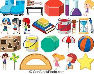 子供, オブジェクト, セット, stationeries, 主題, 隔離された