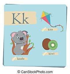 子供, カラフルである, アルファベット, k, -, 手紙