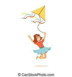 子供, カラフルである, 彼女, 凧, 飛行, 特徴, イラスト, 屋外, 動くこと, ベクトル, 活動, 女の子, 幸せ