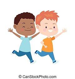 子供, カラフルである, 漫画, アイコン, 平ら, デザイン, 動くこと