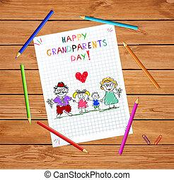 子供, カラフルである, 祖父母, イラスト, 手, ベクトル, grandparends, 引かれる, 子供, 日