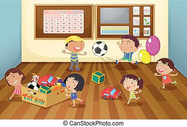 子供, クラスで, 部屋