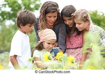 子供, クラス, 公園, 持つこと, 自然