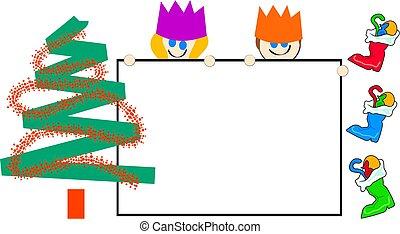子供, クリスマス, 印
