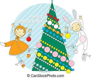 子供, クリスマス, 衣装