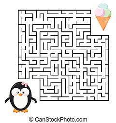 子供, クリーム, -, 氷, ペンギン, 迷路, 漫画, education., かわいい 女, ゲーム, 迷路