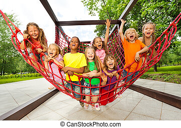 子供, グループ, モデル, ロープ, 運動場, 網