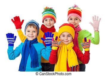 子供, グループ, 冬服