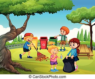 子供, グループ, 庭, 清掃