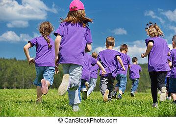 子供, グループ, 自然, 楽しい時を 過しなさい, 幸せ