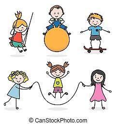 子供, グループ, 遊び