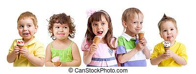 子供, グループ, 隔離された, 氷, 幸せ, クリーム