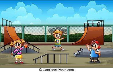 子供, グループ, skatepark, 勉強しなさい, 背景