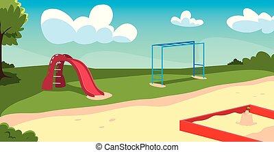 子供, ゲーム, 運動場, 屋外