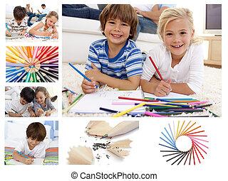 子供, コラージュ, 図画