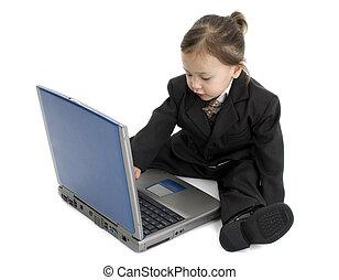 子供, コンピュータ, スーツ
