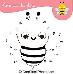子供, シリーズ, 数, 点, 子供, 活動, 昆虫, 蜂, game., 連結しなさい, toddlers., 教育, 漫画, dots.