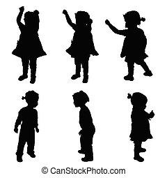 子供, シルエット, イラスト, 幸せ
