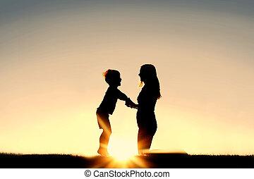 子供, シルエット, 手, 若い, 日没, 保有物, 母