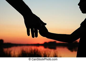 子供, シルエット, 親, 手