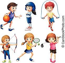 子供, スポーツ, 遊び