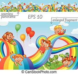 子供, スライド, 上に, a, 虹