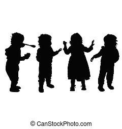 子供, セット, シルエット, イラスト, 幸せ