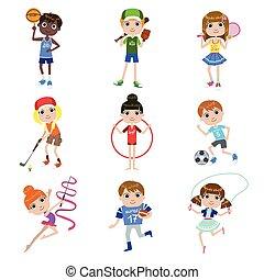子供, セット, スポーツ