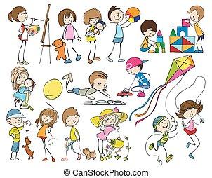 子供, セット, 漫画