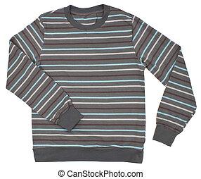 子供, セーター, しまのある, 白, 隔離された