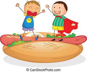 子供, ソーセージ, bread