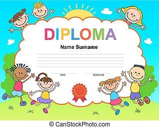子供, テンプレート, 証明書, 卒業証書, デザイン, 背景