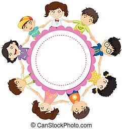 子供, デザイン, 手を持つ, 円, 旗