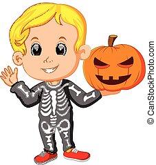 子供, ハロウィーンの衣装, スケルトン