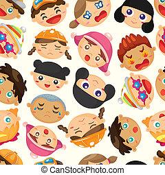 子供, パターン, 顔, seamless