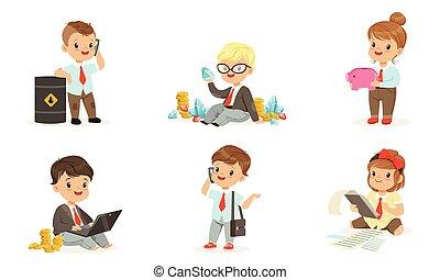 子供, ビジネスマン, 束, illustrations., セット, お金。, ベクトル