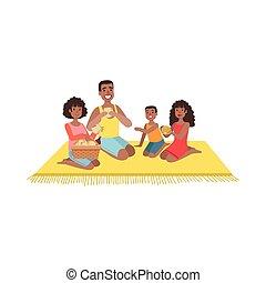子供, ピクニック, 2, 家族