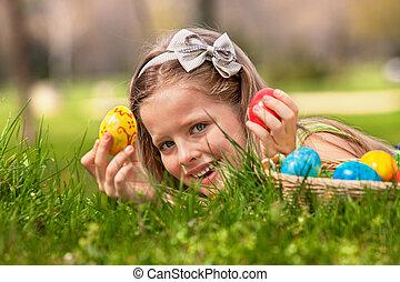 子供, ファインド, イースターエッグ, outdoor.