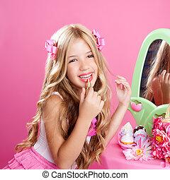 子供, ファッション, 人形, 女の子, 口紅, 構造, ピンク, 虚栄心