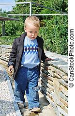 子供, ファッション, 屋外