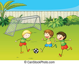 子供, フットボールをする, 地面