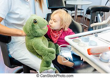 子供, ブラシをかけること, 歯科医, おもちゃ, プラシ天, 歯
