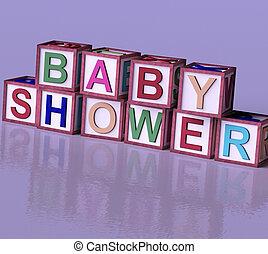 子供, ブロック, 木製である, シンボル, シャワー, 赤ん坊, 赤ん坊, パーティー, つづり, newborns