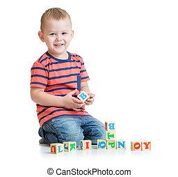 子供, ブロック, 隔離された, 手紙, 遊び