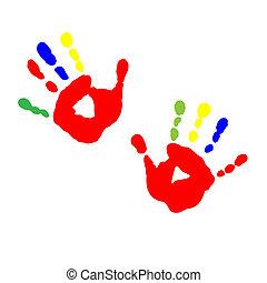 子供, プリント, 手, ペンキ