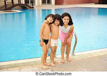 子供, プール, 幸せ