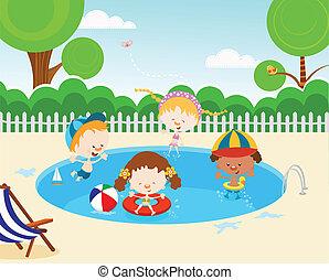 子供, プール, 水泳