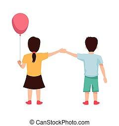 子供, ヘリウム, 風船, 恋人, わずかしか