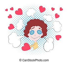 子供, ポンとはじけなさい, スペース, 泡, poster., バレンタイン, スピーチ, 心, コピー, 日, 赤, 漫画, 芸術, text.