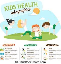 子供, ライフスタイル, inforgrahic, 健康, ポスター, ヨガ